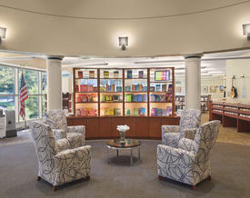 Library interior, front display