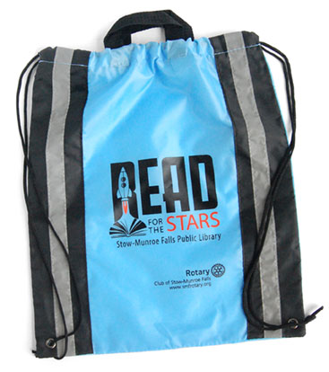 blue drawstring bag with reflective stripes and Read for the Stars rocket logo