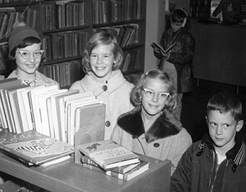 Students at the library in 1963