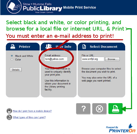 directions for mobile printing